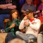 Leeann Tweeden and Daniel Negreanu compare biceps