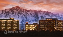 The Lake Tahoe casinos and mountains
