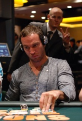 Jarred Solomon (in earlier Aussie Millions action) . . . oh and Jonno Pittock photo-bombing!