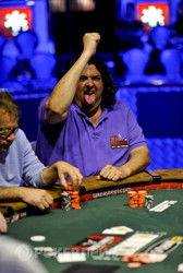Antonin Teisseire does his best Gene Simmons impression after doubling up on Day 3.