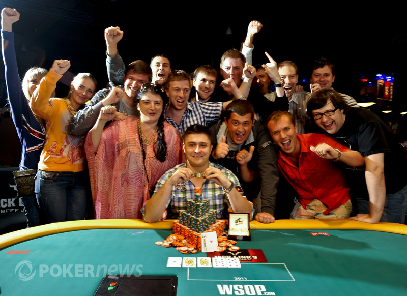 Event 54 bracelet winner Maxim Lykov and supporters.
