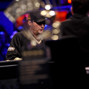Phil Hellmuth as seen through the Poker Players Championship trophy