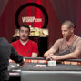 Chris Moorman and Patrik Antonius tangle is a huge pot. Moorman hits his one outer.