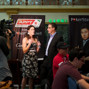 Beautiful PokerNews hostess Sarah Grant with Danny McDonaugh