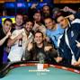 Nick Jivkov celebrates his bracelet win with friends