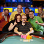 Andy Bloch and friends celebrate his bracelet win in Event 7