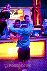Antonio Esfandiari Celebrating After Eliminating Jon Lane and Taking Massive Chip Lead