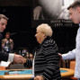Jack Effel greets Ellen &quot;Gram&quot; Deeb, the oldest WSOP main event player at 92 years of age. Shown here with grandson and poker pro Shaun Deeb.