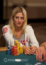 Gaelle Baumann leads the field with half a million chips.