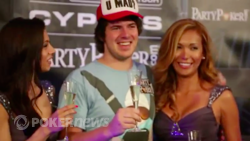 Marvin Rettenmaier Celebrating with the WPT Royal Flush Girls