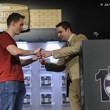 Jack Effel presents the gold bracelet to Justin Bonomo, winner of Event #11: $1,500 Six-Handed No-Limit Hold'em