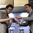Jack Effel presents the gold bracelet to Dominik Nitsche, winner of Event #21: Event #21: $1,000 No-Limit Hold'em