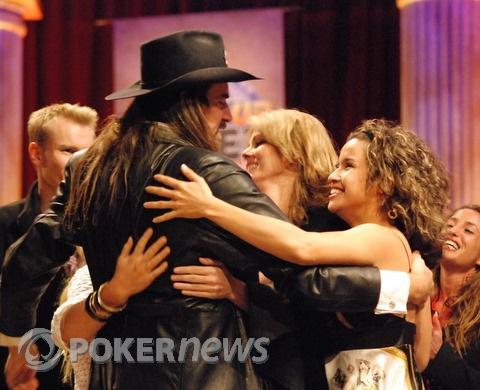 Ferguson celebrates with Clonie Gowen and girlfriend Fabiola