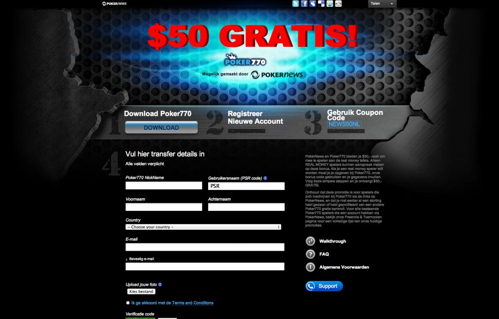 Gratis  startkapitaal op Poker770 en PartyPoker 102