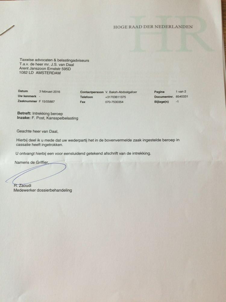 Beroep in cassatie door Belastingdienst ingetrokken in zaak Freerk Post 102