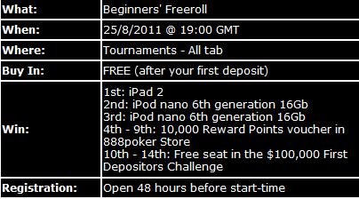 Em Agosto, Freeroll iPAD 2 na 888 Poker 101