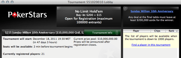 Sunday Million com .000.000 garantidos no prize pool 101