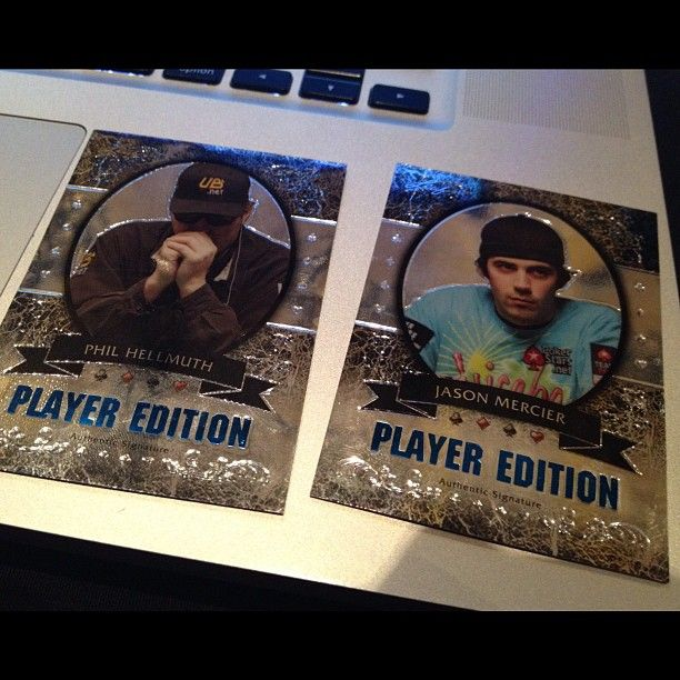 Phil Hellmuth and Jason Mercier trading cards