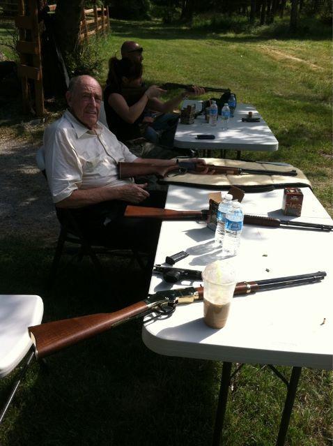 Doyle and his homemade shooting range