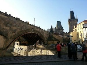 The base of St. Charles Bridge