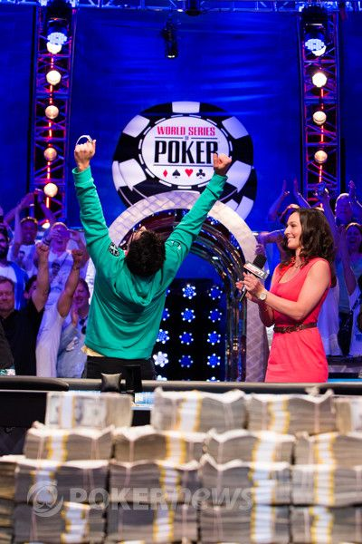 Esfandiari, depicted here celebrating his One Drop win, won another bracelet at the 2012 WSOP Europe