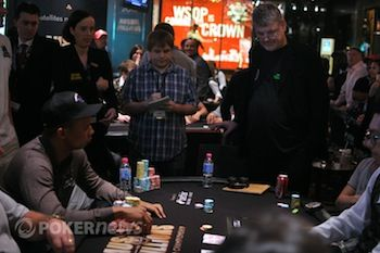 Gary Benson and Phil Ivey on the bubble hand.