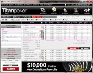 The Titan Poker lobby.