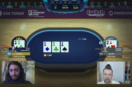 Igor Kurganov and George Danzer heads-up in the Global Poker League