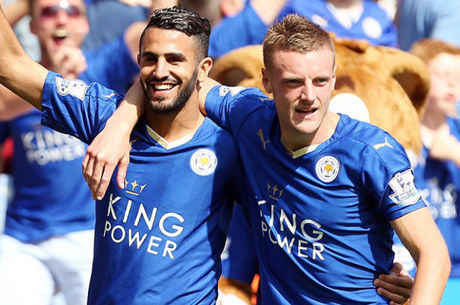 Leicester City's Riyad Mahrez and Jamie Vardy
