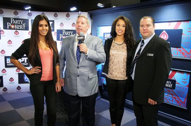 Mike Sexton is joined by Royal Flush Girls Tugba Ercan (left) and Brittany Bell, along with Martin Roy.