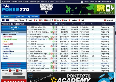 Poker 770 Tournament Lobby