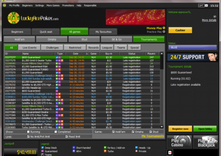 LuckyAcePoker Tournament Lobby