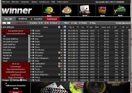 Winner Poker Cash Game Lobby