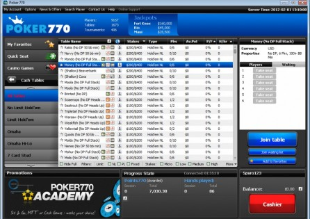Poker 770 Cash Game Lobby