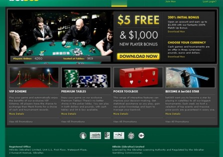 Bet365 Poker Home Page