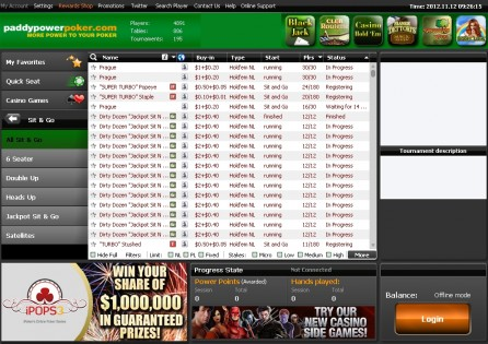 PaddyPower Poker Lobby