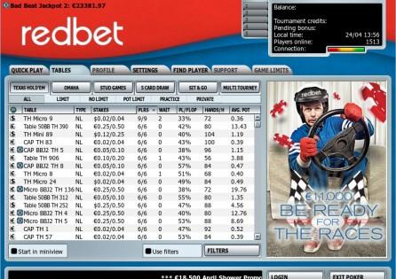 Redbet Poker lobby