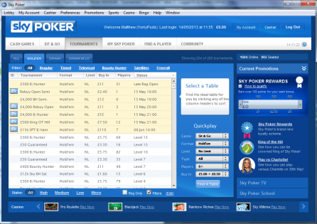 Sky Poker Tournament lobby