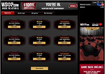 Wsop.com Poker Lobby