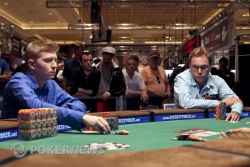 Joshua Tieman	heads up with Neil Channing