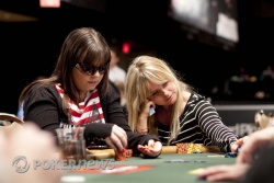 Annette Obrestad (left) has the chip lead, while Fatima Moreira de Melo (right), is the short stack with five remaining at Table 373