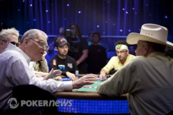T.J. Cloutier and Doyle Brunson at yesterday's ESPN featured table