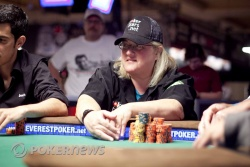 The last woman standing, Breeze Zuckerman, has been sent to the rail as 104 players remain in the WSOP Main Event
