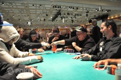Patrick Houchins (left) shakes the hand of the man who beat Kid Poker, Mike Kosowski (right)