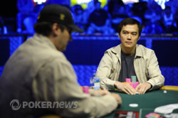 John Juanda gazes at Phil Hellmuth
