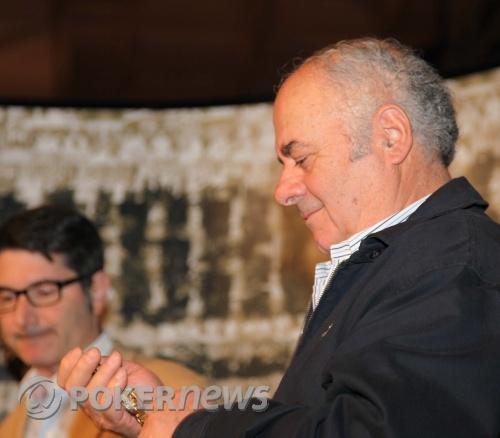 Panayote Vilandos admires his WSOP bracelet