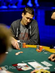 Sean Getzwiller reacts to doubling up Mark Radoja.