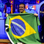 National pride: Andre Akkari with bracelet and Brazilian flag.