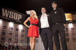 Holly Madison, Jack Effel, and Phil Hellmuth jointly give the Shuffle Up and Deal
