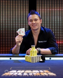 Sam Trickett's winner photo from the $100,000 event at the Aussie Millions
